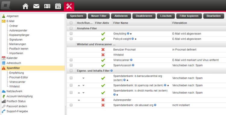 All-Inkl - E-Mail-Einstellungen Spam-Filterung