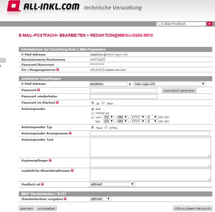 E-Mail-Postfach einrichten bei All-Inkl