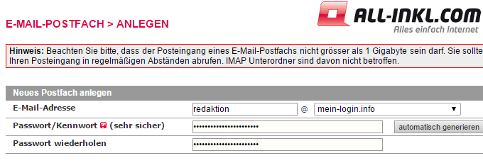 E-Mail Postfach bei All-Inkl.com anlegen