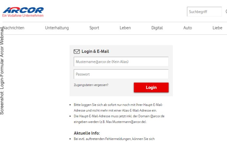 Arcor Webmail Login (Screenshot vom Anmeldeformular auf Arcor.de)