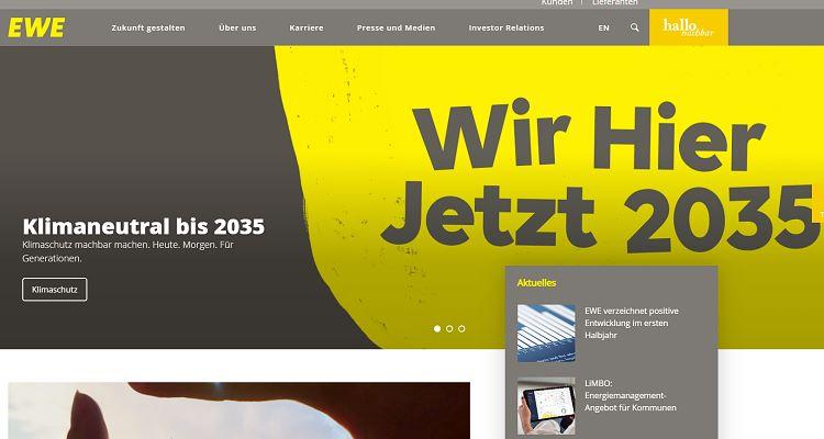EWE.de Homepage (Screenshot vom 01.09.2021)