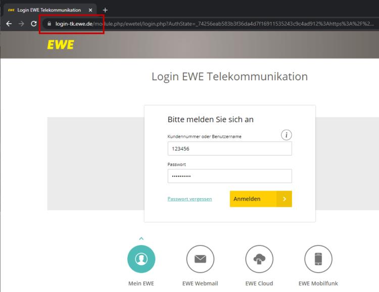 Login-Formular für EWE Webmail