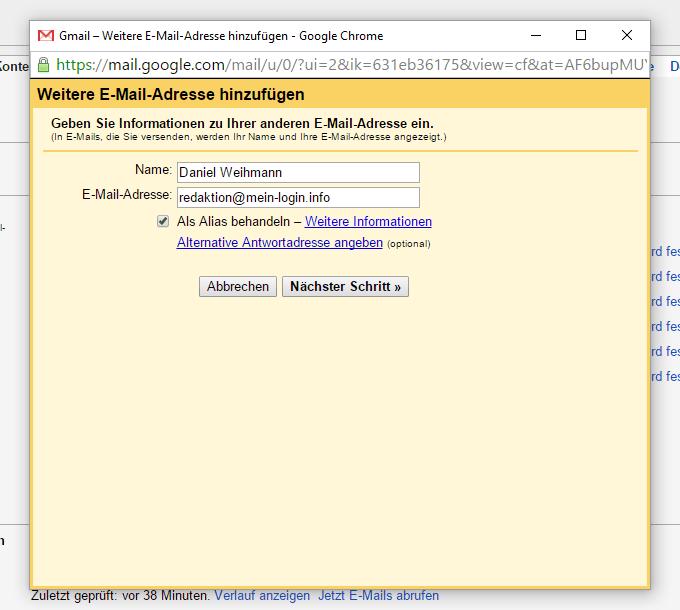 Gmail - Weitere Adresse hinzufügen