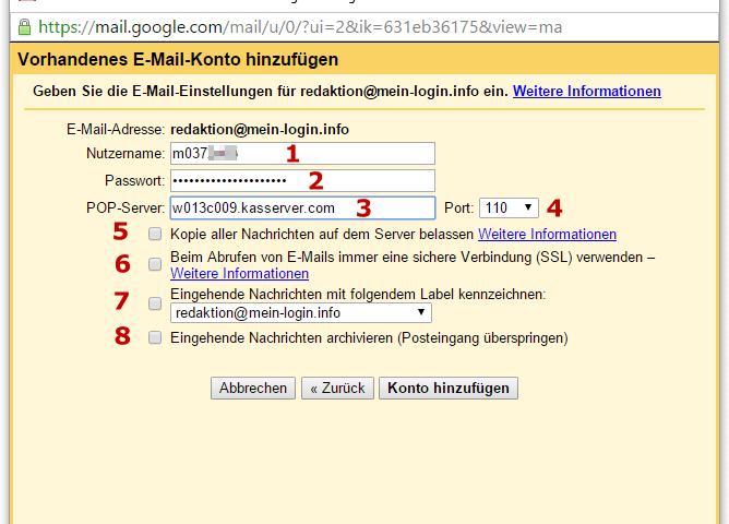 GMail - POP3 Einrichtung zum Abruf von E-Mails