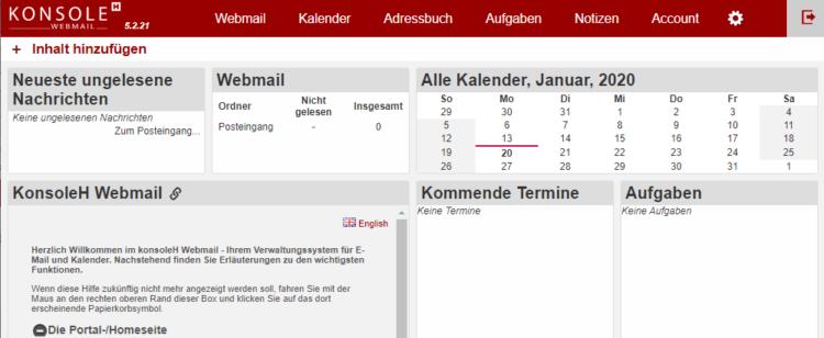 Hetzner: Konsole H Webmail