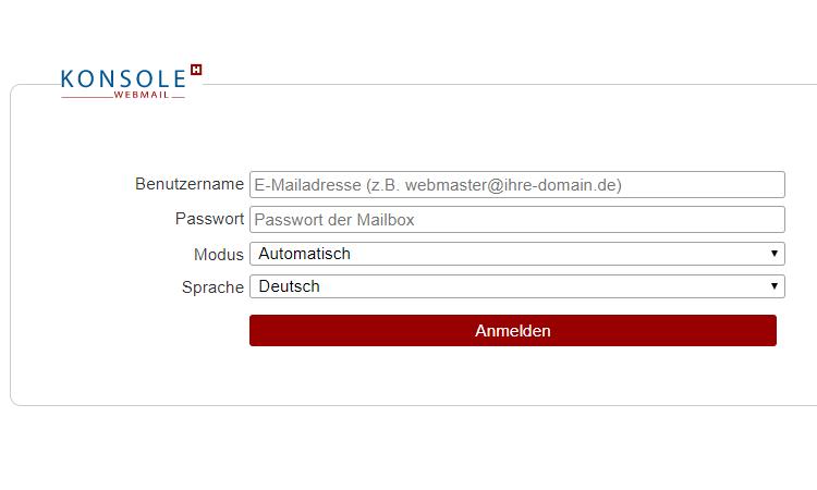 Konsole H - Webmail bei Hetzner