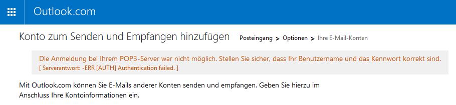 Oulook.com Fehlermeldung: Authentication failed (Fehlerhafte Authentifizierung)
