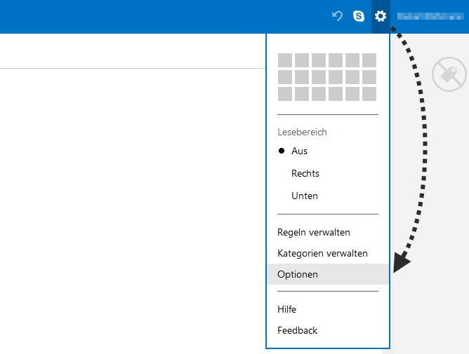 Outlook.com Einstellungen - Alle Outlook-Einstellungen anzeigen