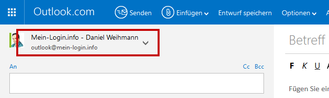 Outlook.com - E-Mail-Absender wählen