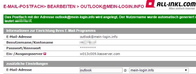 E-Mail Postfach bei All-Inkl.com angelegt