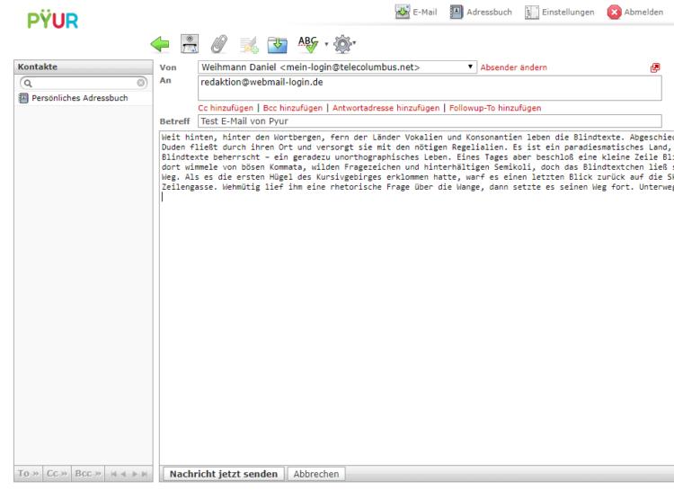 Pyur Webmailer beim Verfassen einer E-Mail