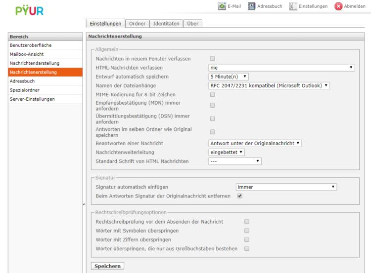Pyur Webmailer Einstellungen und Anpassungsmöglichkeiten