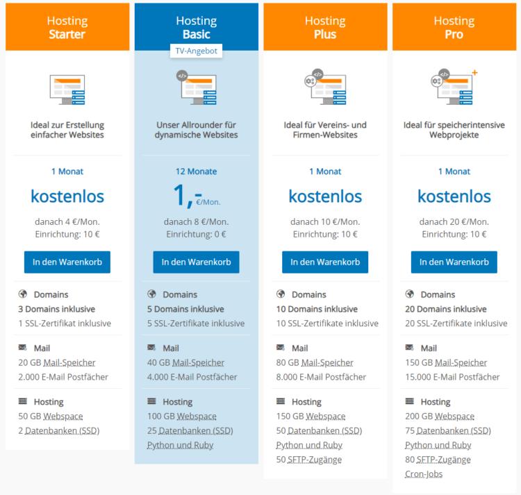 Strato Hosting-Pakete (Screenshot 05/2020)