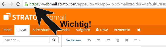 Verschlüsselte Verbindung beim Strato Webmail Login via HTTPS