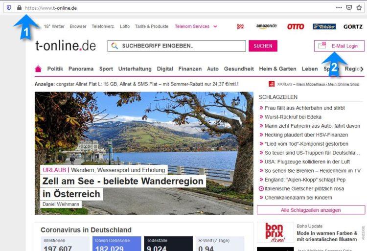 Screenshot: T-Online Startseite mit Webmail Login