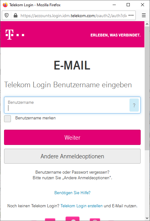 Screenshot: T-Online Webmail Login Formular