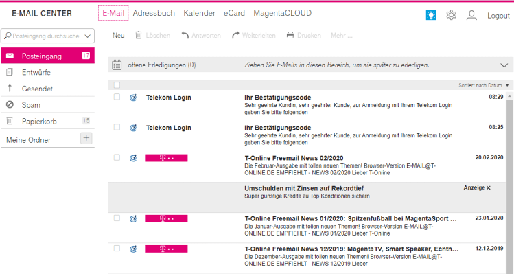 Telekom E-Mail Login - E-Mail Center