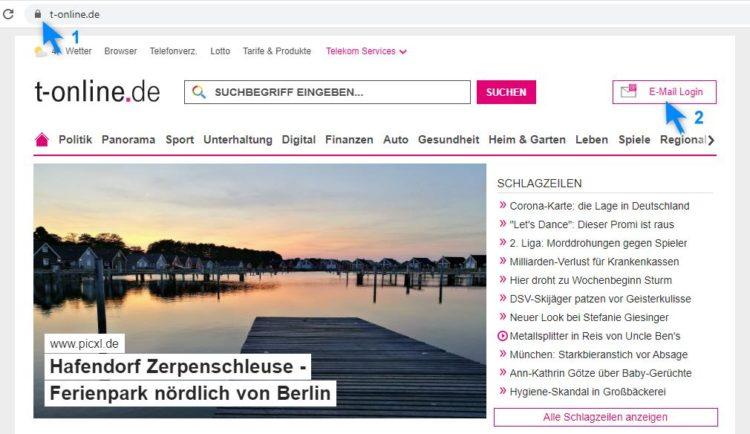 Telekom E-Mail Login (Screenshot www.t-online.de)