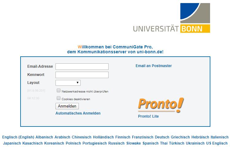 Uni Bonn - Login für Webmail und Groupware