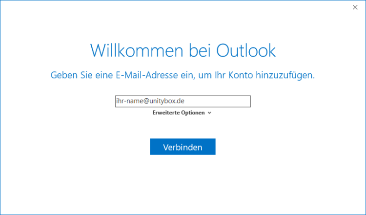 Screenshot: Unitybox Mail in Outlook einrichten