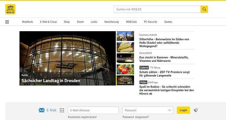 Web.de Login (Screenshot der Web.de Startseite mit Login-Formular zum einloggen)