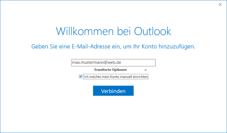 Web.de in Microsoft Outlook einrichten