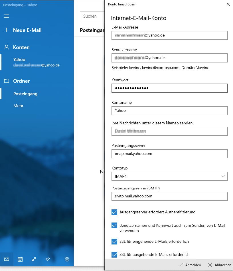 Yahoo Mail - Einstellungen im E-Mail-Programm